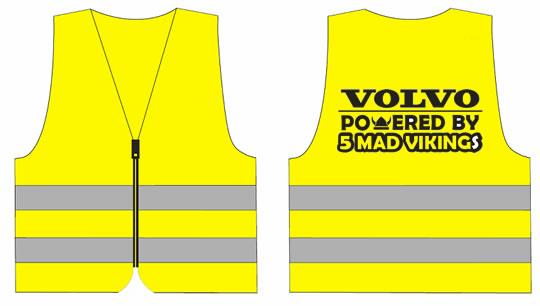 "Refleksvest ""Powered by 5 mad vikings"" trykk bak"