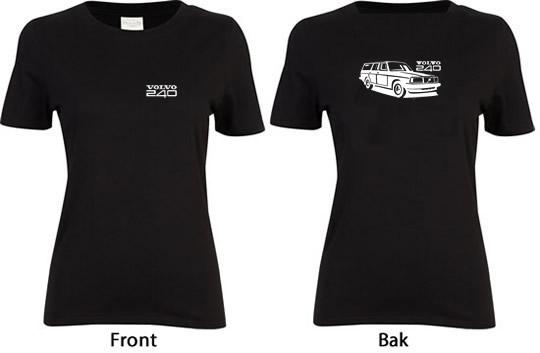 8f463f009 Svart T-skjorte dame tegning Volvo 245 hvit trykk foran & bak - Kr ...